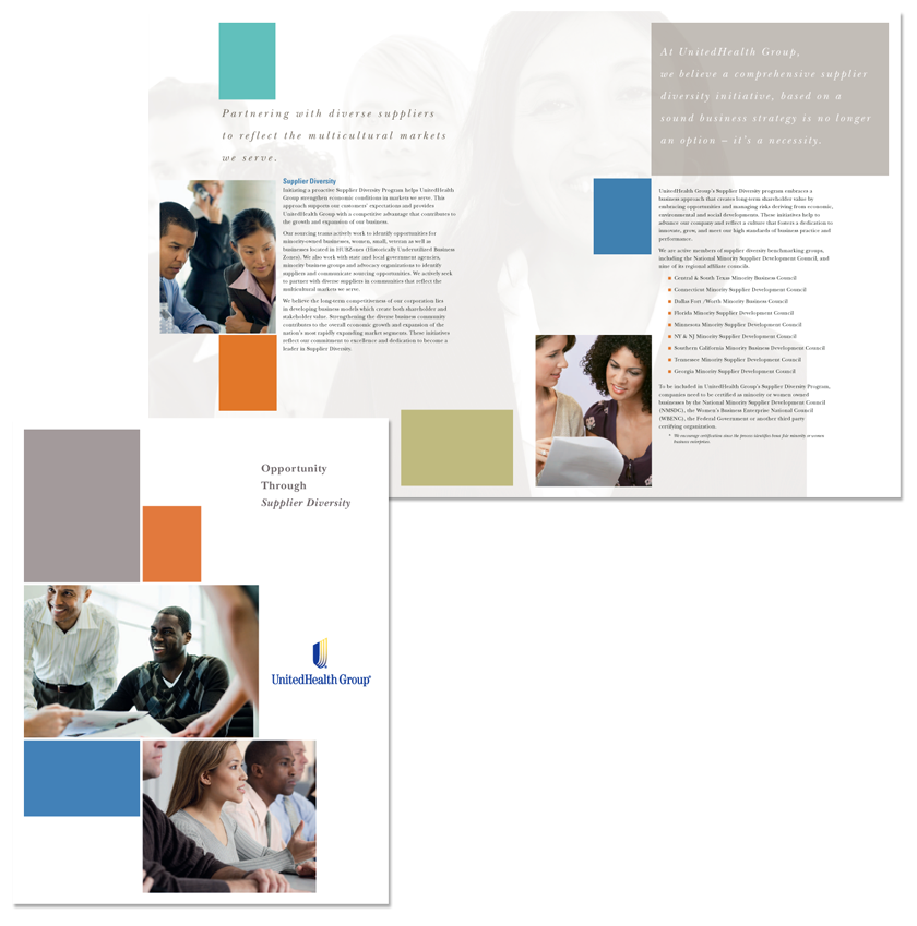 Full color, 8-1/2 x 11 Brochure to promote supplier diversity